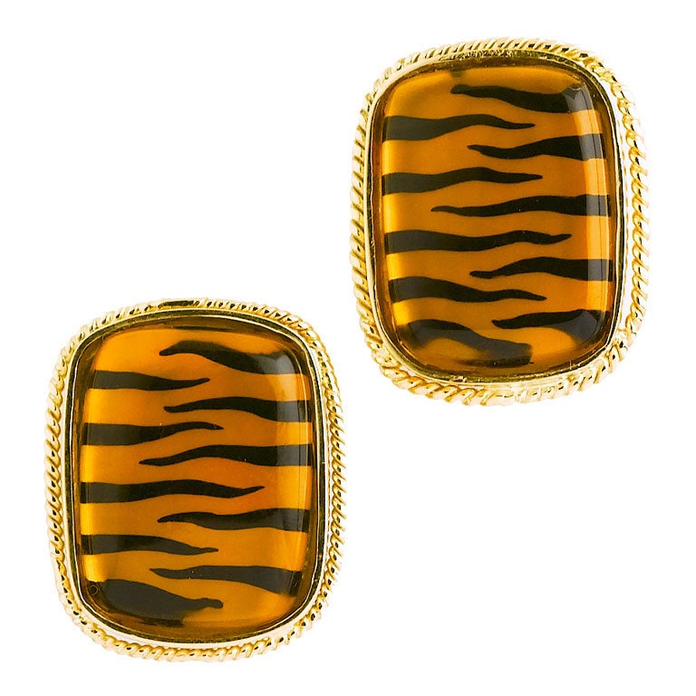 Citrine Tiger Stripe Earrings