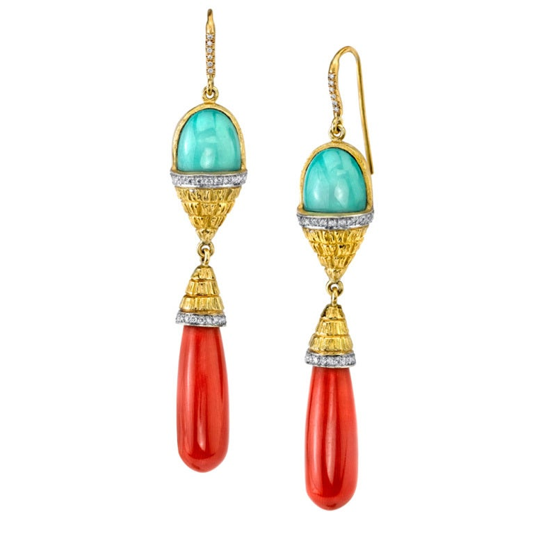 turquoise coral drop earrings