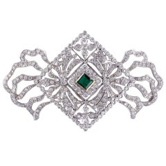 Diamond Emerald Bow Brooch