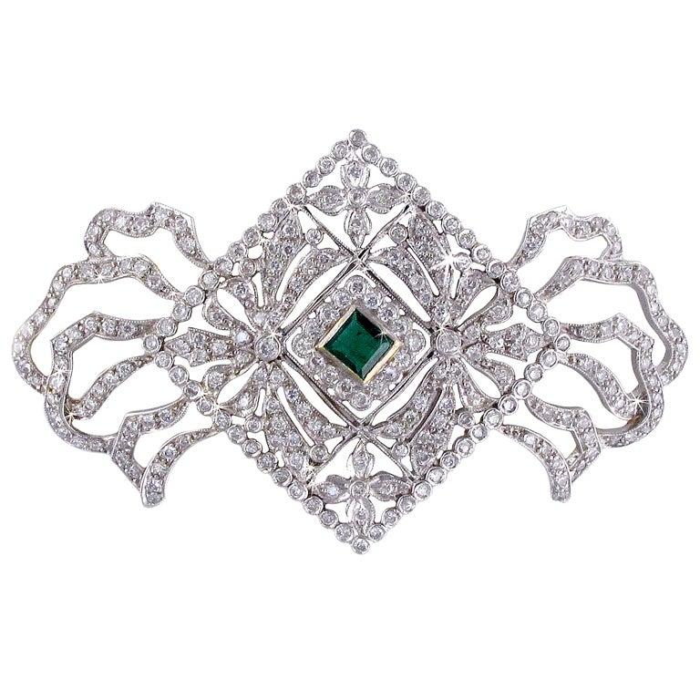 Diamond Emerald Bow Brooch