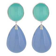 Chalcedony Drop Earrings 18kt White Gold