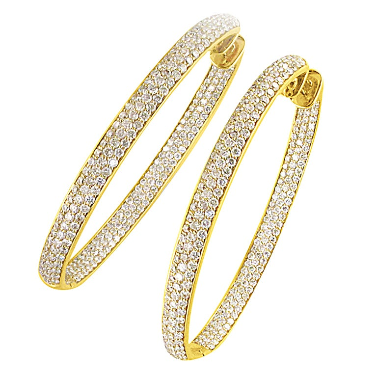 Pave all-around Diamond Hoop Earrings For Sale