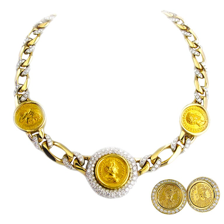 bulgari roma gold coin necklace and earrings at