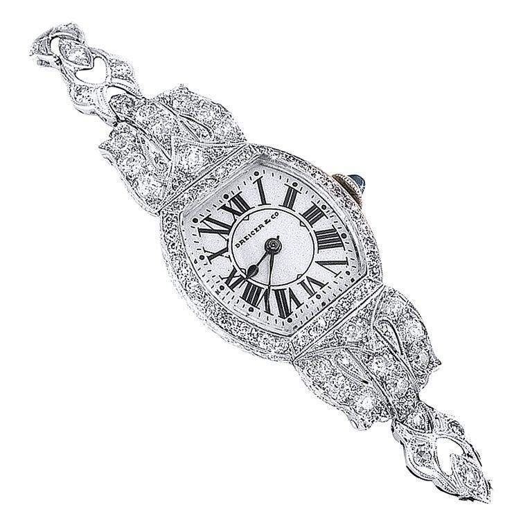DREICER Platinum and Diamond Watch circa 1920s  1