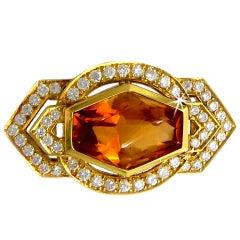 Custom Cut Citrine and Diamond Brooch