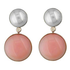 Pink Opals, Mabe Pearls Custom Made Earrings