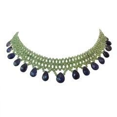 Marina J. Woven Peridot, Iolite, Gold Necklace