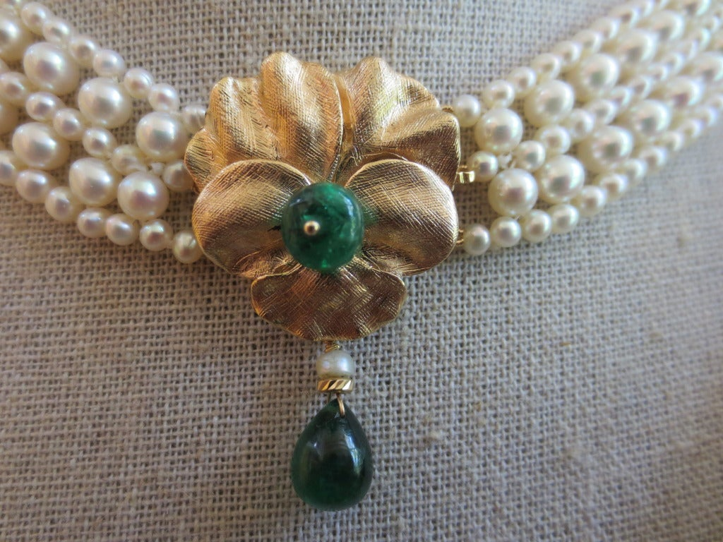 Woven Pearl Necklace With Emerald And Gold Floral Centerpiece And Gold 3