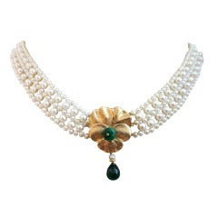 Woven White Pearl Necklace with Emerald and 14k Yellow Gold Floral Front Clasp