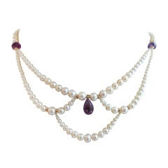 Graduated Pearl Necklace with Amethyst Teardrop Briolette and 14k Yellow Gold