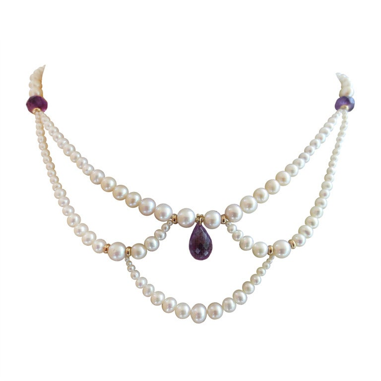 Marina J Graduated Pearl Necklace with Amethyst Teardrop Briolette