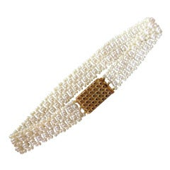 Multi-Strand Unique Woven Seed Pearl Bracelet with Antique Gold Clasp