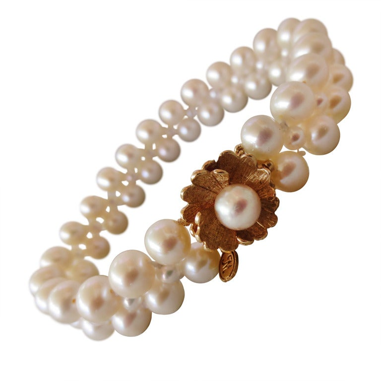 Woven Pearl Bracelet with Vintage Floral Gold Clasp