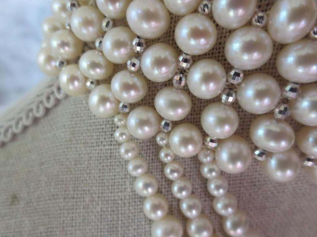 Woven Pearl Draped Choker with Sliding Clasp and Large Baroque Pearl 3