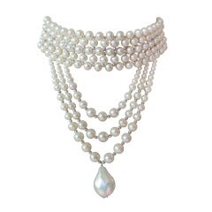 Woven Pearl Draped Choker with Sliding Clasp and Large Baroque Pearl