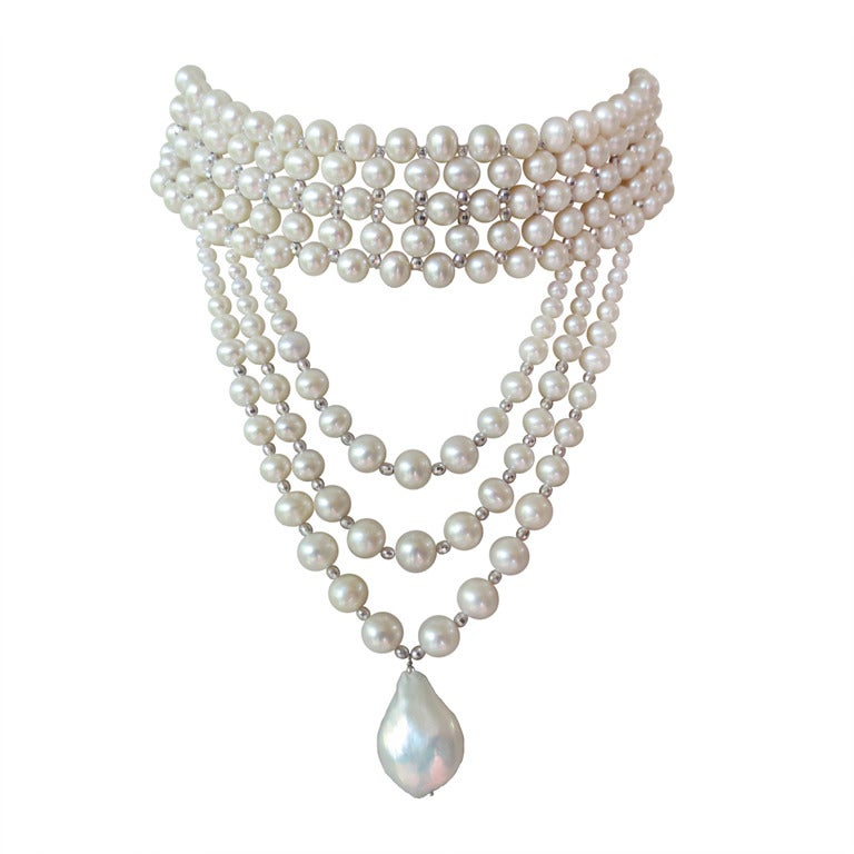 Woven Pearl Draped Choker with Sliding Clasp and Large Baroque Pearl 1