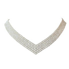 Woven, multi-stand, seed Pearl Necklace with Gold clasp