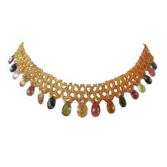 Woven Citrine Bead Necklace with Multi-Color Tourmaline Briolettes