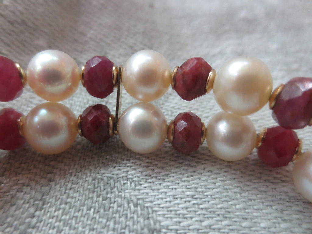 Artist Marina j White Pearl and Faceted Ruby Beaded Bracelet & 14 K Yellow Gold Clasp For Sale