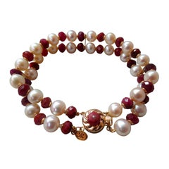 Marina J. White Pearl and Faceted Ruby Beaded Bracelet & 14K Yellow Gold Clasp