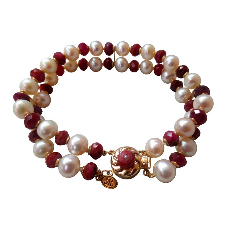 Marina j White Pearl and Faceted Ruby Beaded Bracelet & 14 K Yellow Gold Clasp For Sale