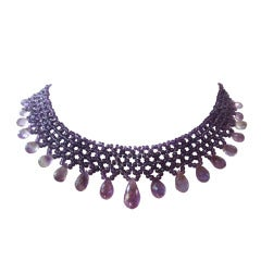 Woven faceted Amethyst bead Necklace with Teardrop Amethyst briolettes.
