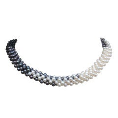 Pearl, Black Pearl, and Onyx Bead Woven Rope Necklace with Silver Clasp
