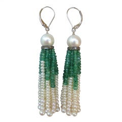 Pearl & Emerald Tassel Earrings