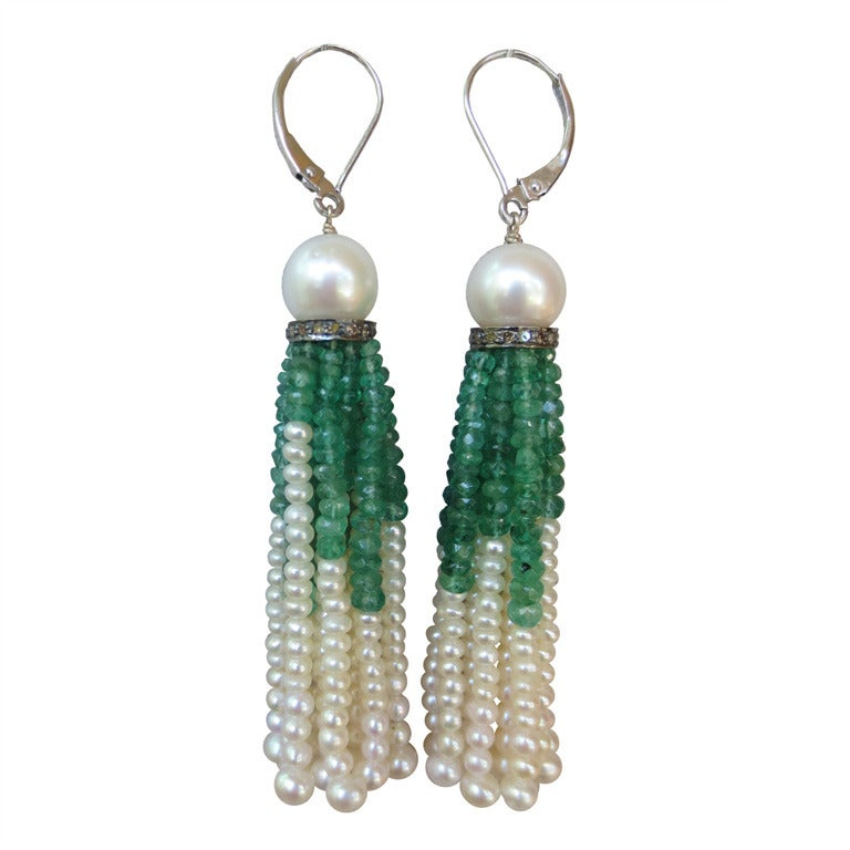 Pearl And Emerald Tassel Earrings 1