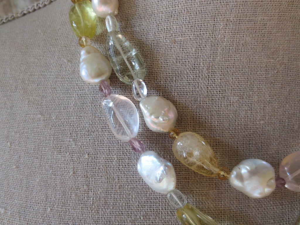 Baroque Pearl Sautoir with Multicolor Stones 2