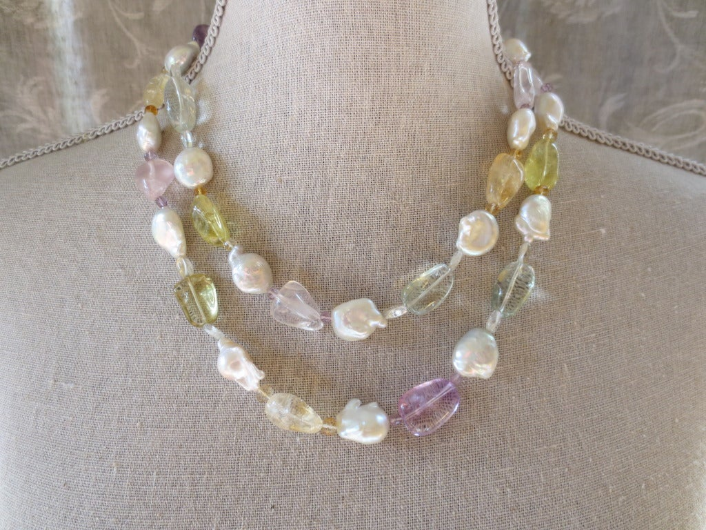 Women's Baroque Pearl Sautoir with Multicolor Stones For Sale