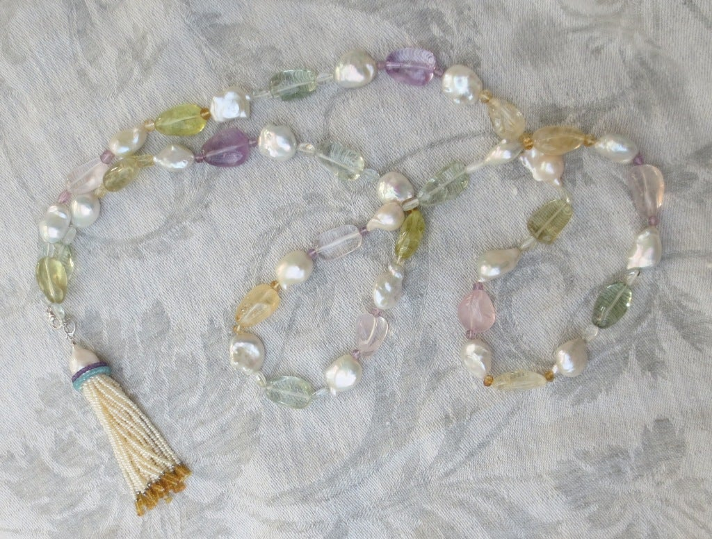 Baroque Pearl Sautoir with Multicolor Stones For Sale 1