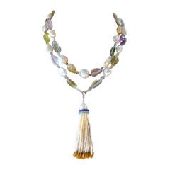 Baroque Pearl Sautoir with Multicolor Stones