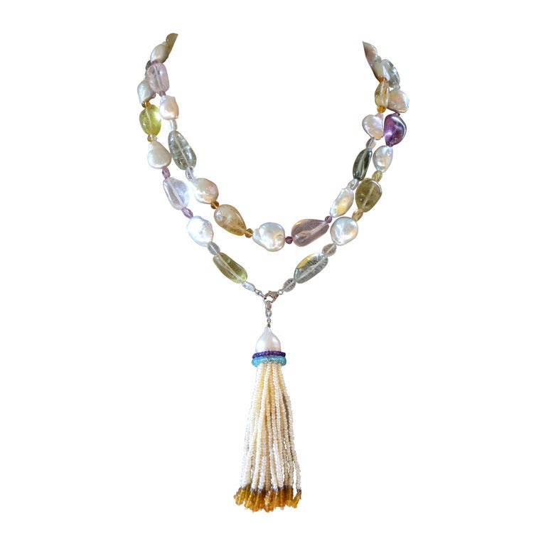 Baroque Pearl Sautoir with Multicolor Stones For Sale
