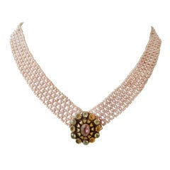 Woven Pink Pearl Multi-Strand Necklace with 14k Yellow Gold Clasp