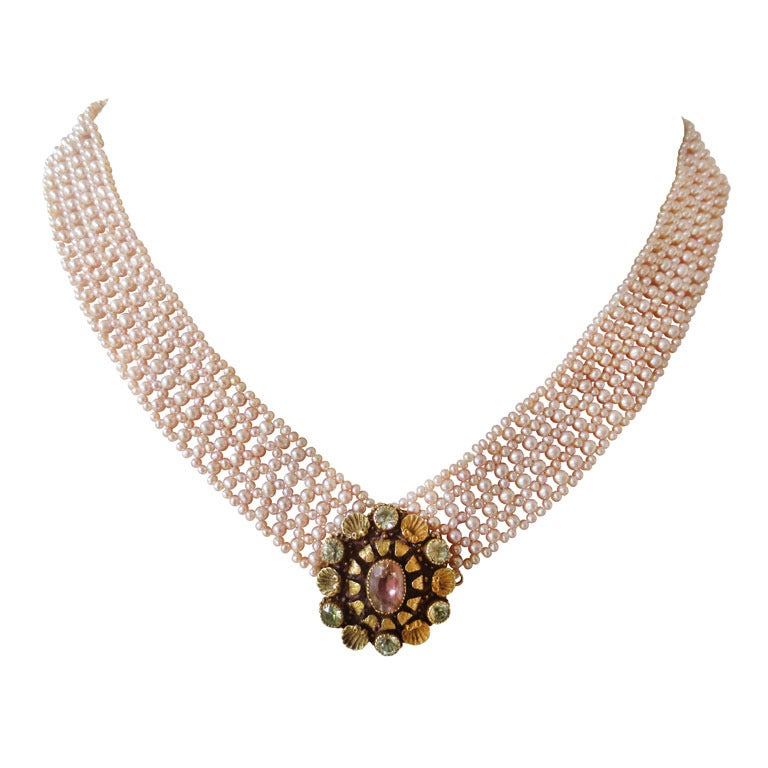 Marina J Woven Pink Pearl Multi-Strand Necklace with Gold Clasp