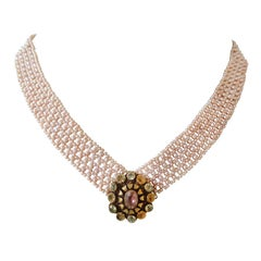 Marina J Woven Pink Pearl Multi-Strand Necklace with 14k Yellow Gold Clasp