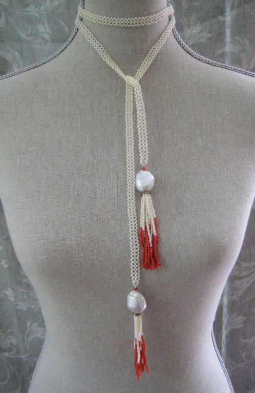 Women's Pearl Lace Sautoir with Coral Accent For Sale