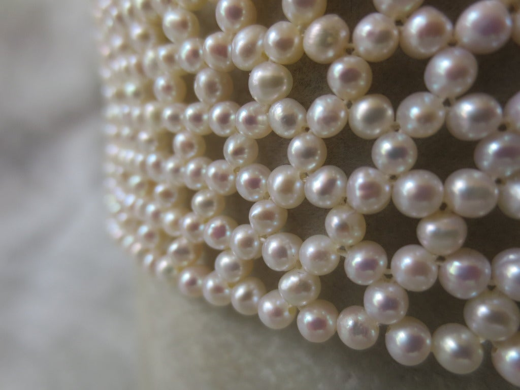 Contemporary Woven Pearl Multi-Stranded Bridal Choker with Sliding Gold Clasp For Sale