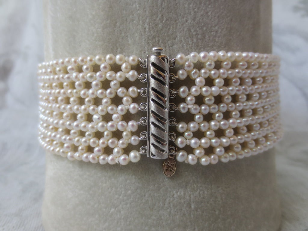 Woven Pearl Multi-Stranded Bridal Choker with Sliding Gold Clasp In As new Condition For Sale In Beverly Hills, CA