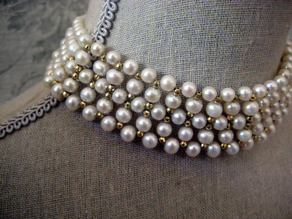 Marina J. Woven Pearl, Gold Choker Necklace 2