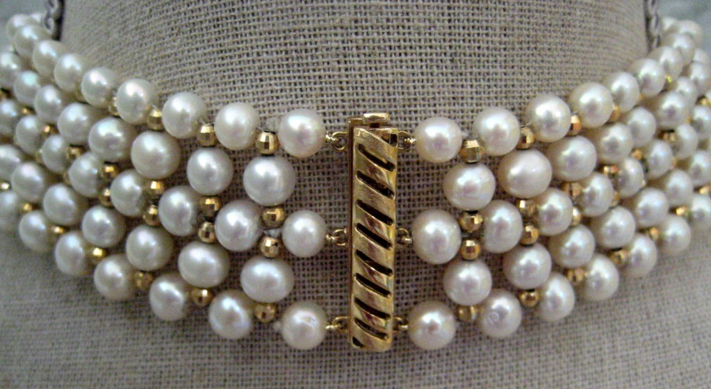 Artisan Marina J. Woven Pearl, Gold Choker Necklace For Sale