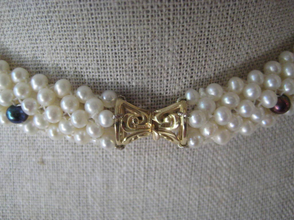 """Women's Marina J. Woven Pearl, Black Pearl, Gold """"3d Rope"""" Necklace For Sale"""