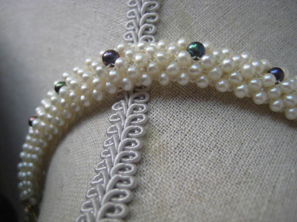 """Marina J. Woven Pearl, Black Pearl, Gold """"3d Rope"""" Necklace For Sale 1"""