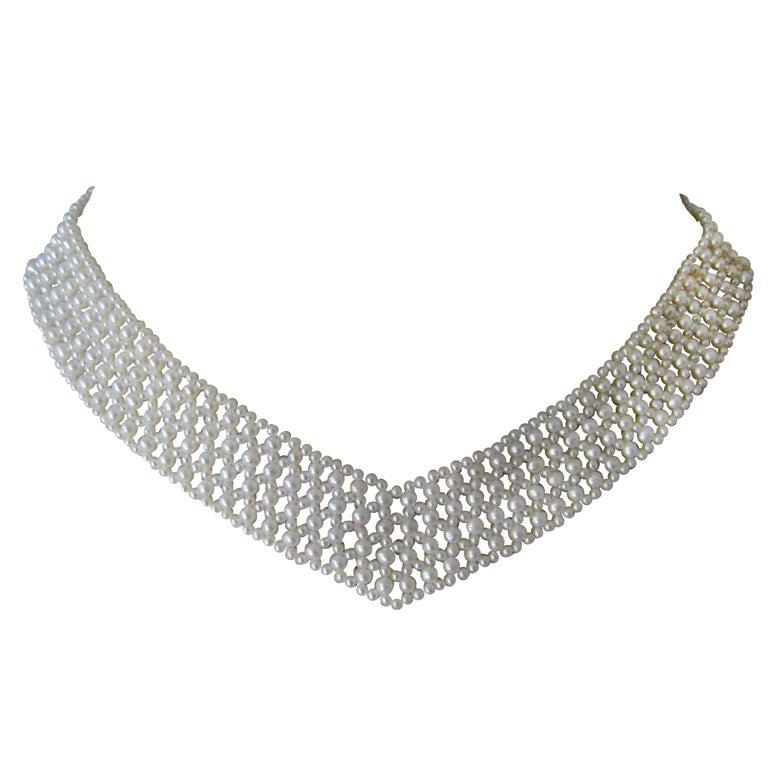 "Marina J. Woven Pearl, Gold ""V"" Necklace"