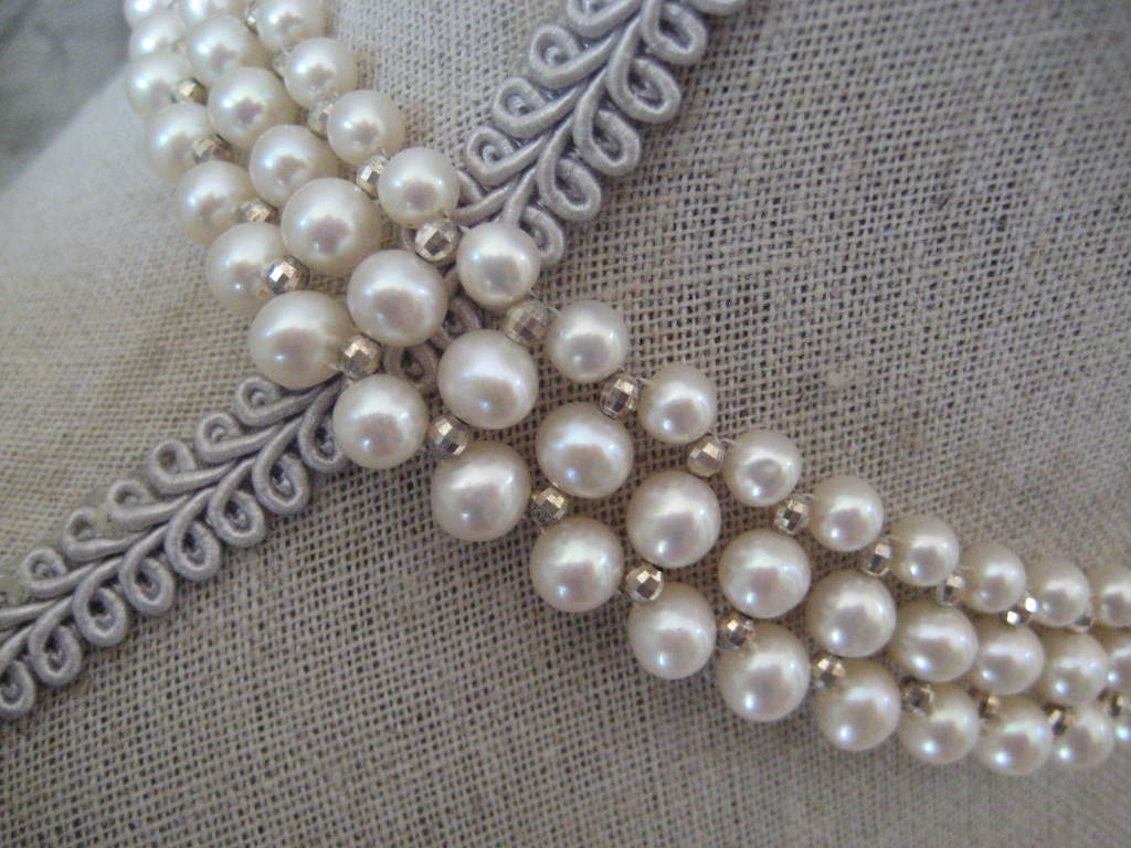 Woven Pearl Necklace with White Gold Faceted Beads and Flower Clasp 6