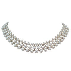 Woven Pearl Necklace with White Gold Faceted Beads and Flower Clasp