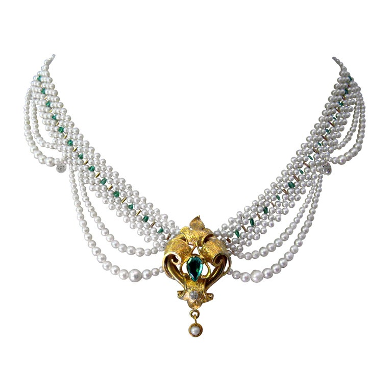 Marina J. One-of-a-Kind Woven Pearl, Emerald, Gold Pendant ...