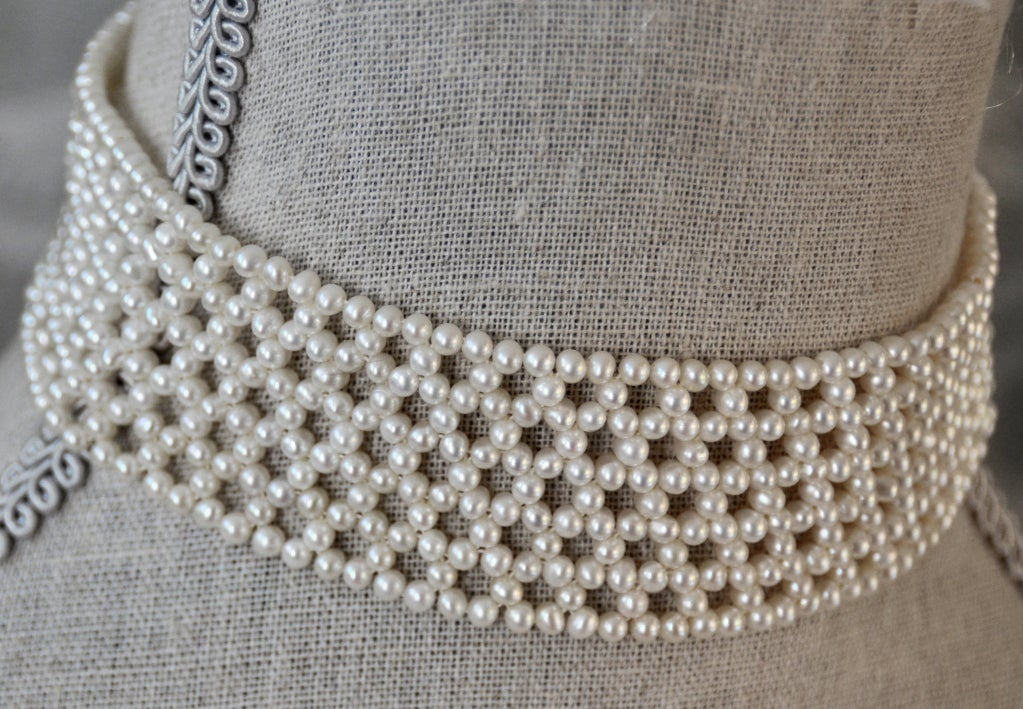 Woven White Pearl Choker with Sterling Silver Clasp 2