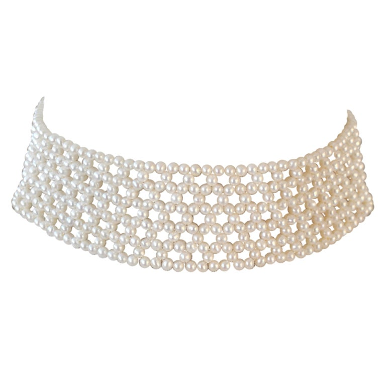 Woven White Pearl Choker with Sterling Silver Clasp